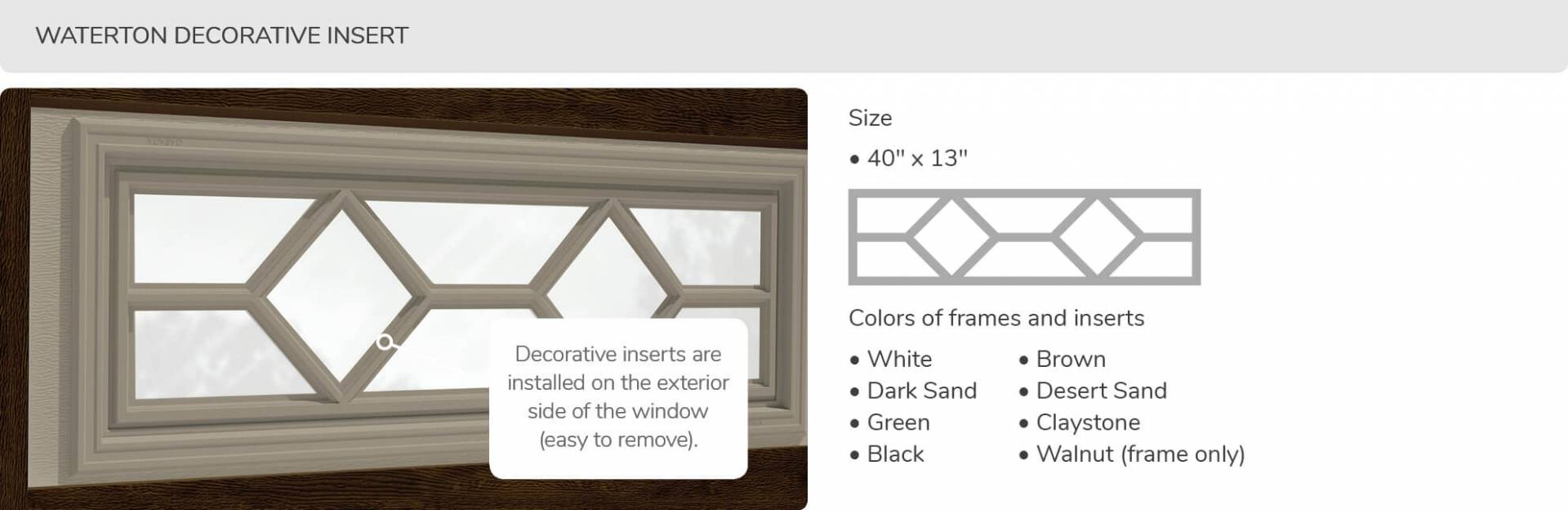 Waterton Decorative Insert, 40' x 13', available for door R-16